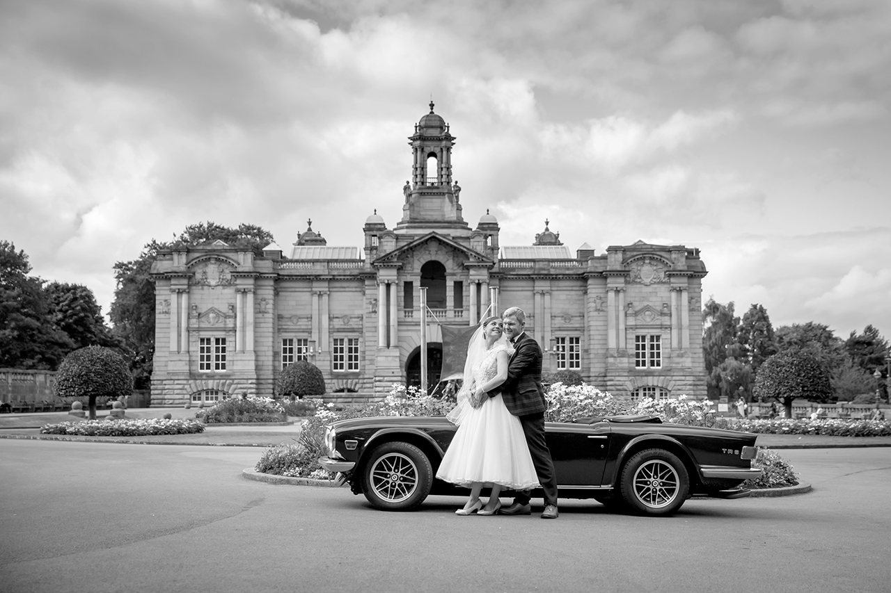 Traci Habergham Photography Bradford Wedding Cartwright Hall with MG Car